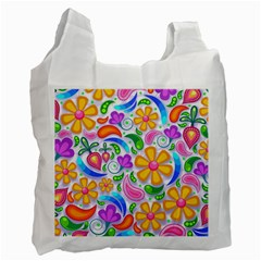 Floral Paisley Background Flower Recycle Bag (One Side)
