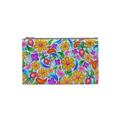 Floral Paisley Background Flower Cosmetic Bag (Small)