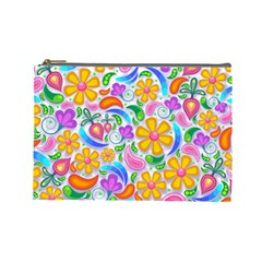 Floral Paisley Background Flower Cosmetic Bag (Large)