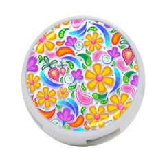Floral Paisley Background Flower 4-Port USB Hub (Two Sides)