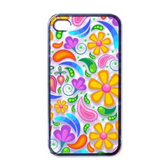 Floral Paisley Background Flower Apple Iphone 4 Case (black)