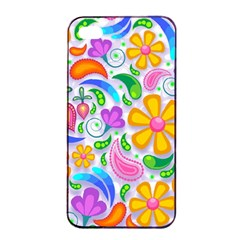 Floral Paisley Background Flower Apple iPhone 4/4s Seamless Case (Black)