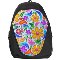 Floral Paisley Background Flower Backpack Bag
