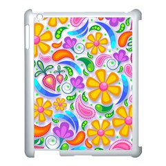 Floral Paisley Background Flower Apple iPad 3/4 Case (White)