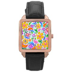 Floral Paisley Background Flower Rose Gold Leather Watch
