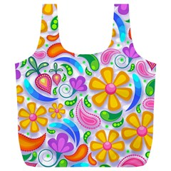 Floral Paisley Background Flower Full Print Recycle Bags (L)