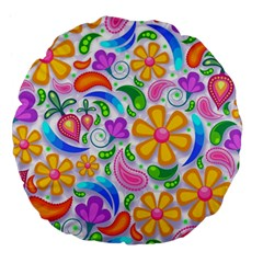 Floral Paisley Background Flower Large 18  Premium Flano Round Cushions
