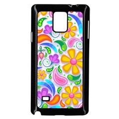 Floral Paisley Background Flower Samsung Galaxy Note 4 Case (Black)