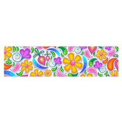 Floral Paisley Background Flower Satin Scarf (Oblong)