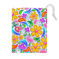 Floral Paisley Background Flower Drawstring Pouches (Extra Large)