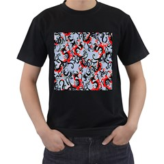 Dragon Pattern Men s T-Shirt (Black) (Two Sided)