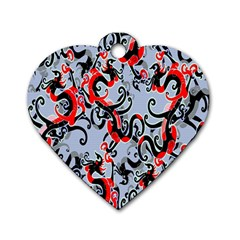 Dragon Pattern Dog Tag Heart (Two Sides)