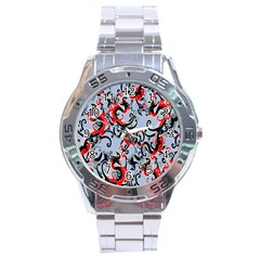 Dragon Pattern Stainless Steel Analogue Watch