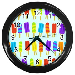 Food Pattern Wall Clocks (Black)