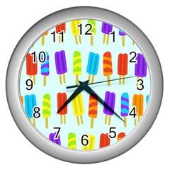 Food Pattern Wall Clocks (Silver)