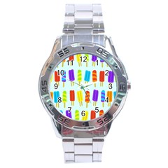 Food Pattern Stainless Steel Analogue Watch