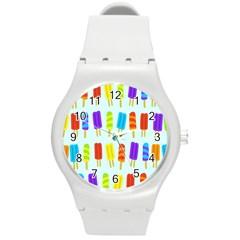 Food Pattern Round Plastic Sport Watch (m)