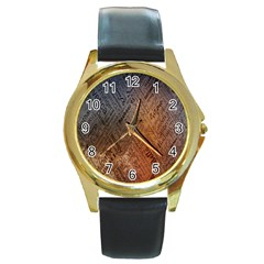 Typography Round Gold Metal Watch