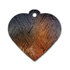 Typography Dog Tag Heart (One Side)