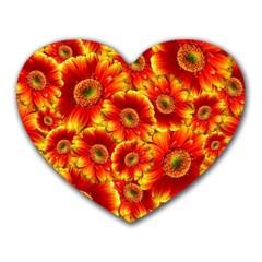 Gerbera Flowers Blossom Bloom Heart Mousepads