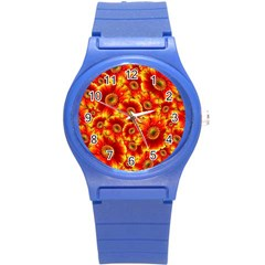 Gerbera Flowers Blossom Bloom Round Plastic Sport Watch (S)
