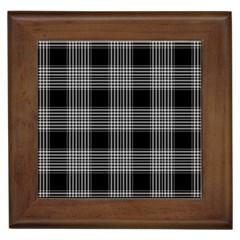 Plaid Checks Background Black Framed Tiles