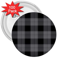 Plaid Checks Background Black 3  Buttons (100 pack)