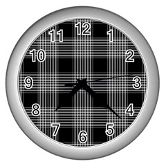 Plaid Checks Background Black Wall Clocks (Silver)