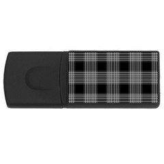 Plaid Checks Background Black USB Flash Drive Rectangular (4 GB)