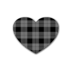 Plaid Checks Background Black Heart Coaster (4 pack)