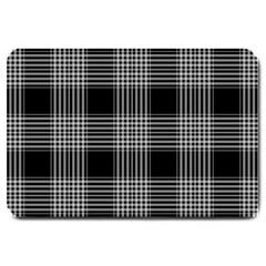 Plaid Checks Background Black Large Doormat