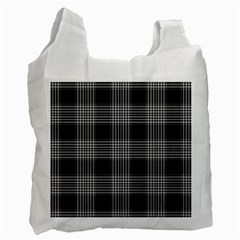 Plaid Checks Background Black Recycle Bag (Two Side)