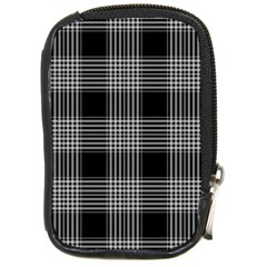 Plaid Checks Background Black Compact Camera Cases