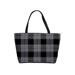 Plaid Checks Background Black Shoulder Handbags
