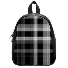 Plaid Checks Background Black School Bags (Small)