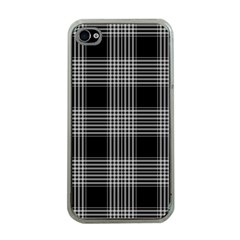Plaid Checks Background Black Apple iPhone 4 Case (Clear)