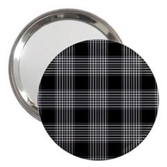 Plaid Checks Background Black 3  Handbag Mirrors