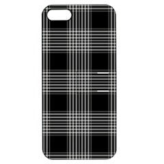 Plaid Checks Background Black Apple iPhone 5 Hardshell Case with Stand