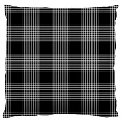 Plaid Checks Background Black Large Flano Cushion Case (Two Sides)
