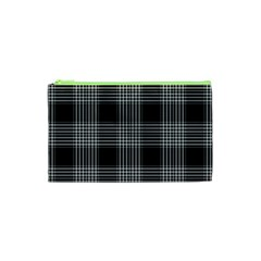 Plaid Checks Background Black Cosmetic Bag (XS)