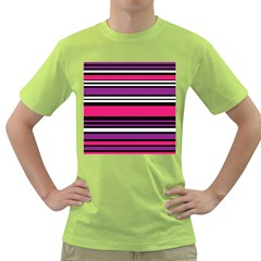 Stripes Colorful Background Green T-Shirt