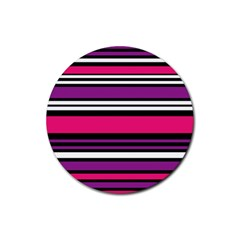 Stripes Colorful Background Rubber Coaster (round)