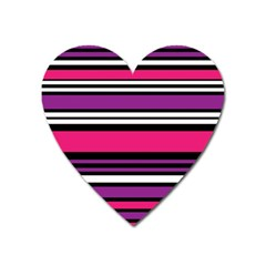 Stripes Colorful Background Heart Magnet