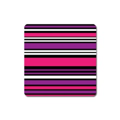 Stripes Colorful Background Square Magnet
