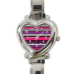 Stripes Colorful Background Heart Italian Charm Watch
