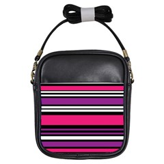 Stripes Colorful Background Girls Sling Bags