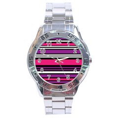 Stripes Colorful Background Stainless Steel Analogue Watch