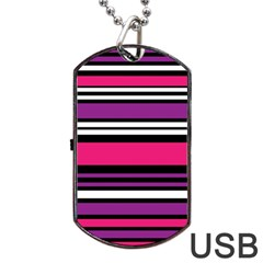 Stripes Colorful Background Dog Tag Usb Flash (two Sides)