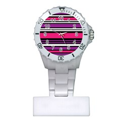 Stripes Colorful Background Plastic Nurses Watch