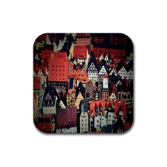 Tilt Shift Of Urban View During Daytime Rubber Square Coaster (4 pack)